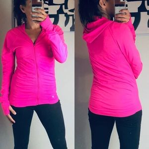 Athleta Bright Pink Zip Up Hoodie Sweater size M